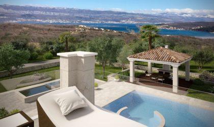 OTOK KRK/ČIŽIĆI  Zemljište  s građevinskom dozvolom za izgradnju PREMIUM kamene vile s bazenom ► 355.000 €